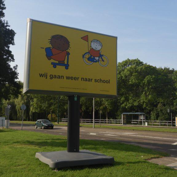 Dick Bruna campagne 'wij gaan weer naar school' bekend van nijntje. Verkeersveiligheid kinderen in gemeente Rijswijk