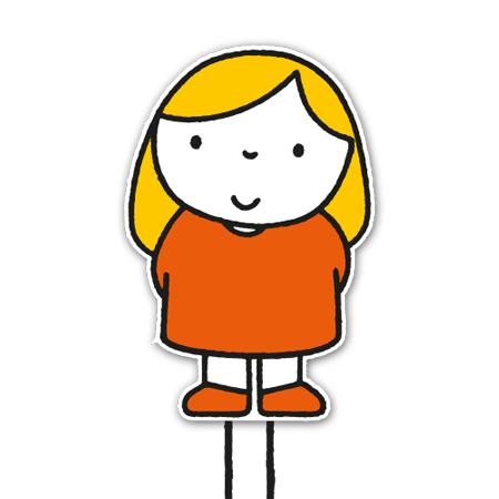 meisje met oranje jurkje