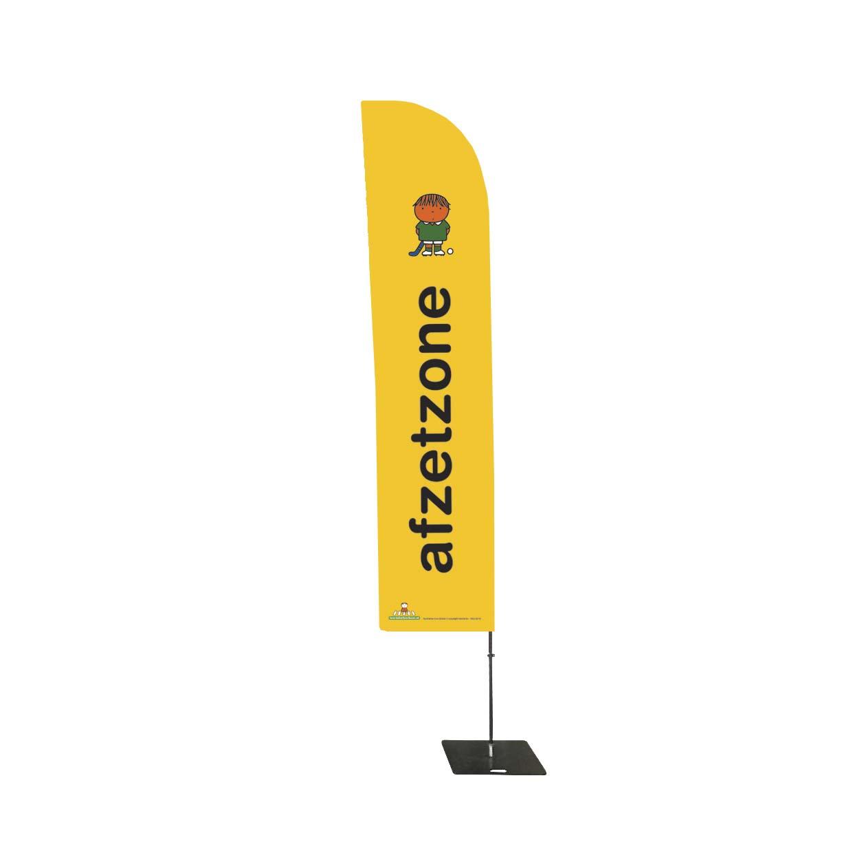 gele beachflag vlag met een dick bruna afbeelding bekend van nijnjte van een hockeyer of hockeyster en de tekst afzetzone voor hockeyclubs om plekken en plaatsen te markeren of aan te geven waar kinderen kunnen verzamelen voor de training of wedstrijd ook leuk voor toernooien van jongste jeugd