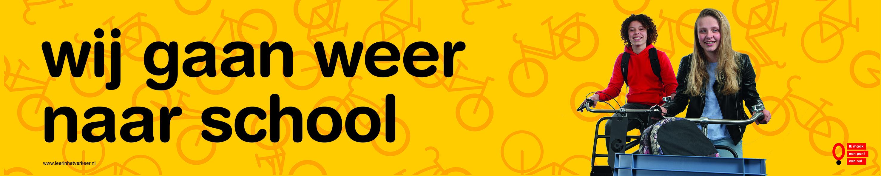 campagne wij gaan weer naar school start schooljaar kinderen veilig naar school verkeersveiligheid rondom scholen in schoolomgeving en schoolzone na de zomervakantie weggebruikers wijzen op meer kinderen op de weg om ongelukken te voorkomen
